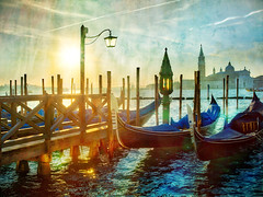 Morning in Venice at the Gondolas (Stuck in Customs) Tags: city blue venice italy color texture water horizontal photography boat canal photo europe day cityscape daily hasselblad gondola february trey waterway westerneurope 2016 northernitaly ratcliff hdrphotography stuckincustoms p2016 treyratcliff stuckincustomscom hasselbladh5d cfiled2015