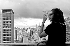 (maisacarv) Tags: old city bw building girl hair nice pretty view wind windy curly sp martinelli