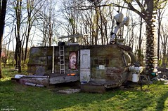 Hillbilly Spaceship (Studio 9265) Tags: door old usa tree art home apple grass mobile museum rural america garden toy photography artwork nikon rust ship bottles decay kentucky ky space united country plastic valley states ladder redneck hillbilly motorhome offbeat 2016 unconventional d5000