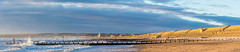 Sunshine on Aberdeen Beach (LoneWolfA7ii) Tags: blue light sea sky cloud sun art beach water yellow clouds contrast landscape scotland sand outdoor sony sunny aberdeen groyne a7ii