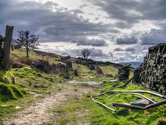 Open country (drelliott0net) Tags: abandoned broken wall landscape gate derbyshire hdr builtenvironment photomatix