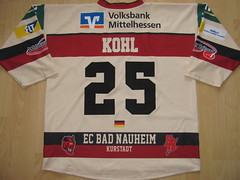 #25 Mark KOHL Game Worn Jersey (kirusgamewornjerseys) Tags: red game ice hockey germany deutschland mark devils bad worn jersey kohl ec nauheim eishockey del2