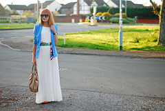 SS16 White pleated maxi skirt, white chiffon top, blue blazer, scarf as belt, orange lace up flats | Not Dressed As Lamb (Not Dressed As Lamb) Tags: white fashion style blogger vert fashionista jacques edit ss16