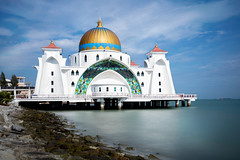Malacca straits mosque (Krunja) Tags: city blue sea sky cloud white building tourism beach architecture landscape religious scenery asia day tour view symbol outdoor muslim islam religion floating landmark scene mosque unesco malaysia dome historical spiritual pulau strait melaka masjid malacca islamic selat my
