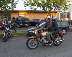 OrangeBMW (B Shree B) Tags: seattle sunset cafe motorcycle ballard racers backfire