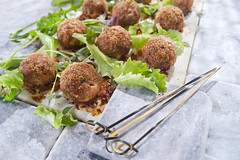 Meatballs with salad (fotografiche) Tags: light cuisine salad cook fresh meat ingredients second taste diet cooked meatballs vitamins prepare baked nutritious italiancuisine proteins fooddish mediterraneandiet