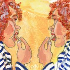 # 117 (26-04-2016) (h e r m a n) Tags: woman reflection girl illustration mirror drawing spiegel zwembad frites double cardboard fries herman carton vrouw meisje illustratie bock karton oosterhout tekening weerspiegeling patat friet 10x10cm tegeltje frietje 3651tekenevent