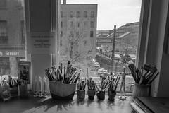 StPaulArtCrawl2016_46342-.jpg (Mully410 * Images) Tags: blackandwhite building window monochrome painting artist stpaul brushes workspace 2016 artcrawl jaxbuilding niksilverefexpro