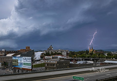 May First Lightning Roanoke (Terry Aldhizer) Tags: city blue storm mountains church saint museum clouds hotel virginia spring big andrews catholic lick junction ridge roanoke valley terry bolt lightning taubman aldhizer wwwterryaldhizercom