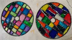 SAM_1982-a (~Mischa) Tags: design colorful paint circles patterns stainedglass suncatcher hanging projects windchimes cdart puffypaint glassstain plasticspheres liquidleading