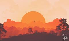 Sunset Levitation (Trilogy levitation) (Samuel Daz) Tags: sunset sol illustration backlight photoshop contraluz de landscape atardecer levitation paisaje brushes illustrator minimalism 2d puesta minimalismo aire libre ilustracin levitacin