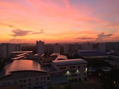 School on Fire (teckhengwang) Tags: school sky cloud sun color colors clouds sunrise landscape fire singapore burn hdb hougang handphone iphone kovan lorahsoo iphone6s iphone6splus