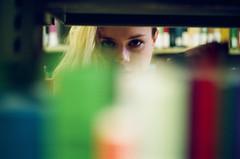 (edmondburnett) Tags: leica film 35mm 50mm model eyes kodak library books summicron blonde analogue portra