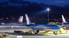 Thomson @ Salzburg! (domingo_95) Tags: england salzburg plane canon airplane austria airport nightshot taxi aircraft united kingdom off apron international thomson take boeing airways takeoff flights boarding 757 charter 737 spotter 738 planespotter 60d