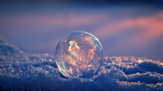 Frozen soap bubble in the evening sun / Jäätynyt saippuakupla #Winter #Finland