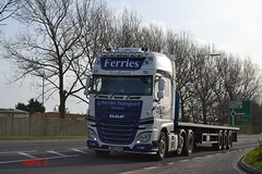 DAF XF 'G.J. Ferries Transport' reg SN64 AUO (erfmike51) Tags: lorry artic flatbedtrailer dafxf euro6 gjferriestransport