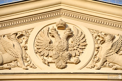 The Imperial Double-Headed Eagle with Griffons on the Top of Bolshoi Theater (Guide, driver and photographer in Moscow, Russia) Tags: russia moscow symbols doubleheadedeagle bolshoitheater decorationsofbuildings traristsymbols