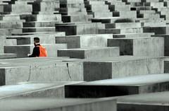 BERLiN: memorial (gregjack!) Tags: street people orange colour berlin germany concrete deutschland memorial mitte holocaustmemorial