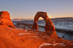 Delicate Arch (Joe Y Jiang) Tags: park christmas trip travel winter sunset arizona usa sun snow southwest west nature beautiful clouds sunrise river wonder landscape dawn utah nikon sandstone colorado open dusk tranquility arches landmark newyear canyon formation national american valley page canyonlands antelope bryce zion horseshoe wilderness navajo capitolreef plato fourcorners momument calmness vast 2015 d800e
