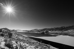 panoramic Image one (photos_without_borders) Tags: winter sky blackandwhite bw cloud mountain snow sol water monochrome canon landscape colorado outdoor tokina sunray horsetooth ftcollins poudreriver carterlake horsetoothresevoir canonusa canon7d tokina1116 lapoudreriver