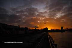sunrise in Berlin 05022016 (1)6 (MartinE157) Tags: morning sky berlin sunrise buildings kreuzberg germany colorful brcke friedrichshain elsenbridge