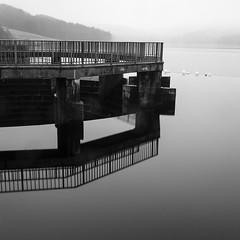 Errwood Reservoir (l4ts) Tags: longexposure mist reflection landscape blackwhite derbyshire peakdistrict squarecrop overflow darkpeak goytvalley errwoodreservoir 10stopfilter