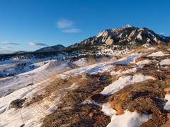Flatirons sunrise (Mister Bunny) Tags: snow sunrise landscape outdoors boulder ncar