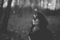 When I found death into the woods (Lobe occipital) Tags: portrait blackandwhite woman white black girl dead death 50mm mort femme morte beaut pauline squelette fminine