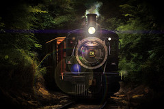 Night Train (Robert Holler Photography) Tags: steam engine locomotive vintage manipulated night flare photo manipulation photopainting photomanipulation favorite robertholler interesting painterly painted artistic