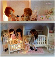 Fig and Sweet Pea were wondering what all the excitement was downstairs.... (TutuBella) Tags: baby cute nursery crib babysitting soom dollhouse playpen popo nappychoo jerryberrydolls tutubelladresses teddybearsbypaula~sweetredcottage pampersbyshannonslilcritters