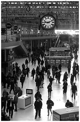 rendez-vous (amazingstoker) Tags: people clock station under platform waterloo meet contrejour monochrone meetmeundertheclockatwaterloo