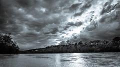 darK sKy (ElmerstarK) Tags: sky blackandwhite bw cloud france river dark landscape noiretblanc rhône rivière nb ciel sombre nuage paysage fr fleuve rhônealpes solaize