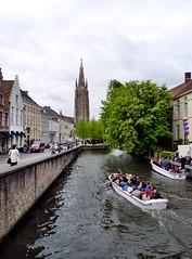 Bruges - Canal (Martin M. Miles) Tags: canal belgium brugge bruges hanse westflanders onzelievevrouwekerk veniceofthenorth hanseaticleague bruegge cogship flemishregion brickworktower