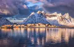 Lofoten Winter Magic (hpd-fotografy) Tags: winter light mountain snow cold reflection weather norway sunrise north dramatic arctic fjord bluehour scandinavia lofoten goldenhour