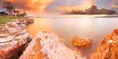 East Point cliffs (Louise Denton) Tags: ocean light sunset sea panorama orange water view nt australia darwin eastpoint northernterritory