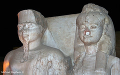 Tutankamun statue with wife Queen Ankhesenpaaten , Luxor (Mikey Stephens) Tags: statue egypt queen wife marble tutankhamun luxortemple ankhesenpaaten