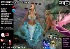 Empress of 7Seas Mermaid outfit (Zed Sensations) Tags: eve mer fashion project costume clothing underwater slim mesh tail lara fantasy mermaid seaworld sensations isis couture outfits freya belleza zed physique hourglass tmp roleplay fitted maitreya slink pulpy fitmesh evemesh
