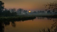 A little anxiety... (piotrekfil) Tags: sunset sky sun mist tree nature water fog wow reflections river landscape twilight riverside pentax dusk poland piotrfil