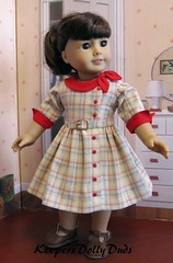 KDD-21 Side Tie Collar Dress Pattern Proof (Keepersdollyduds) Tags: belt doll dress buttons clothes cotton 1950s frock 18 plaid buckle cuffs maryellen keepers americangirldoll keepersdollyduds sidetiecollar