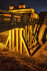 Wooden bridge at night (Digikuvaaja) Tags: old travel bridge blue red building brick tower castle history tourism monument wall architecture night finland dark landscape evening ancient europe european cityscape exterior fort outdoor dusk stones perspective landmark scene medieval historic mysterious historical moonlight fortress defense touristic hmeenlinna
