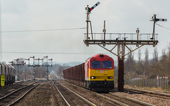 DB Class 60 no 60010 at Barnetby on 24-03-2015 with empty ore wagons from Scunthorpe. (kevaruka) Tags: road uk railroad england sun colour history sunshine station composition digital train canon eos march is flickr day colours box britain outdoor south yorkshire united great transport rail railway kingdom sunny trains front db historic lincolnshire full signals telephoto page frame gb vehicle mk2 5d british locomotive network past signal 70200 f28 semaphore humber dbs schenker mk3 freightliner 2015 railfreight barnetby 60010 60001 5d3 5diii 24032015 thephotographyblog