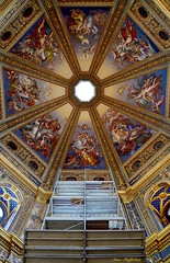Renaissance scaffolding ( Ivan) Tags: blue italy art church colors beautiful painting temple gold scaffolding catholic interior mary dome ugly lodi lombardy frescoes reinassance