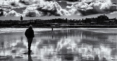 West Sands St Andrews (scrimmy) Tags: sky blackandwhite monochrome clouds reflections landscape scotland seaside sand standrews seashore westsands