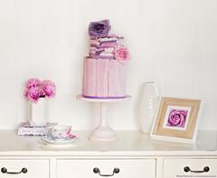 My Birthday Cake (KiwiMiriam) Tags: birthday pink flowers cake purple chocolate celebration crackle fondant gumpaste tornpaper styledpaper