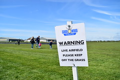 Take heed (simon bath) Tags: family blue sky people cloud green grass sign clouds danger plane warning children airplane airport child control post sunny bluesky signpost goodwood airfield