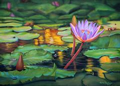 Golden Pond (Karen Jacobson) Tags: art painting pond artist waterlily lily oilpainting oiloncanvas goldenpond originaloilpainting