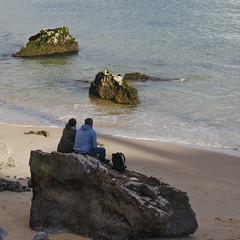 Couple on the rocks (miroslav0108) Tags: portugal rocks persons sandybeach