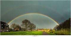 Cadeau van de regenbui (nandOOnline) Tags: park water regenboog nederland wolken regen dorp landschap zonlicht helmond regenwolken nbrabant brouwhuis dubbeleregenboog