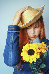 The sadness will last forever (TheJennire) Tags: camera light portrait people art luz girl face hat fashion self canon vintage cores photography photo colours foto emotion vincent young makeup style colores teen sunflowers indie fotografia bangs vangogh camara vincentvangogh tumblr