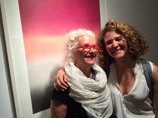 Curator Tami Katz-Freiman with artist Tamar Ettun currently showing recent works at Diana Lowenstein Gallery